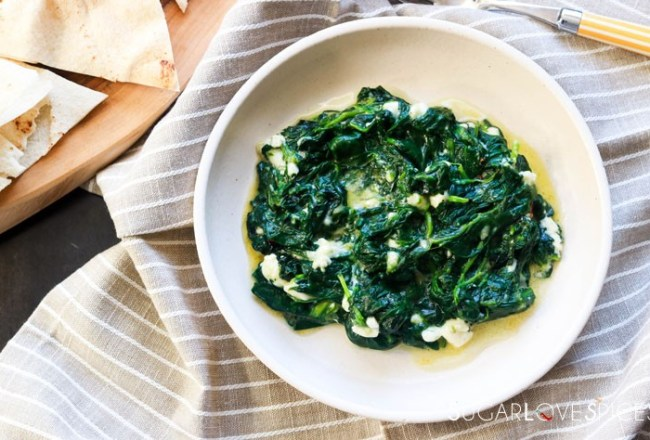 Creamy Spinach with Feta-feature-plated-pita on the side
