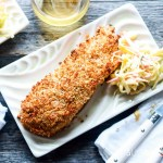 Sweet Chili Panko-crusted Salmon-feature-slice on a plate with slaw