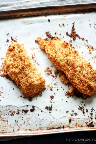 Sweet Chili Panko-crusted Salmon-on a baking dish-out of the oven