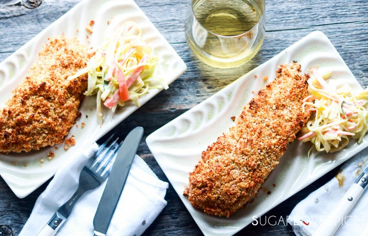 Sweet Chili Panko-crusted Salmon-two plates with salmon and slaw