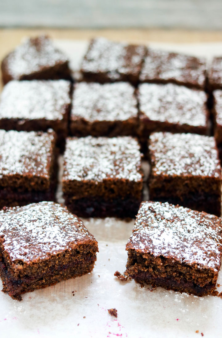 Buckwheat and Jam Cake-squares on a board