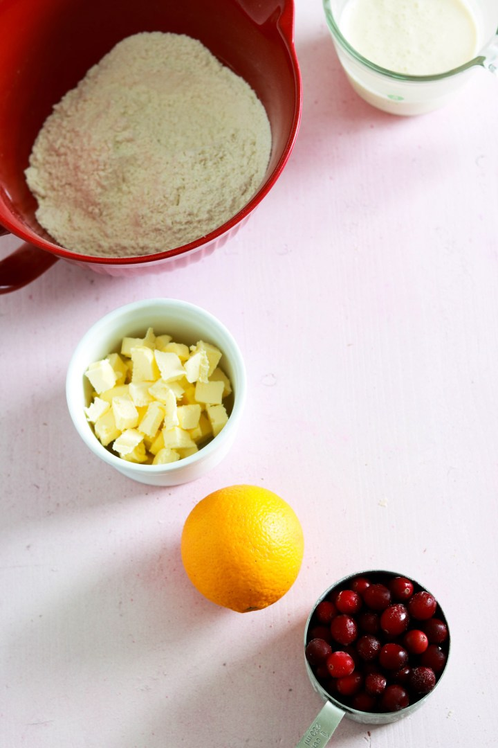 Amazing Cranberry Orange and White Chocolate Scones-mise en place on pink board