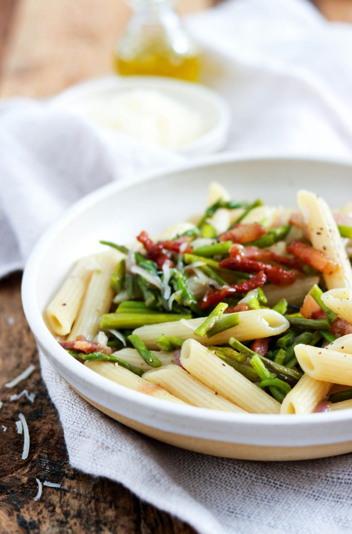Easy Spring Penne with Asparagus and Guanciale-plated-closeup