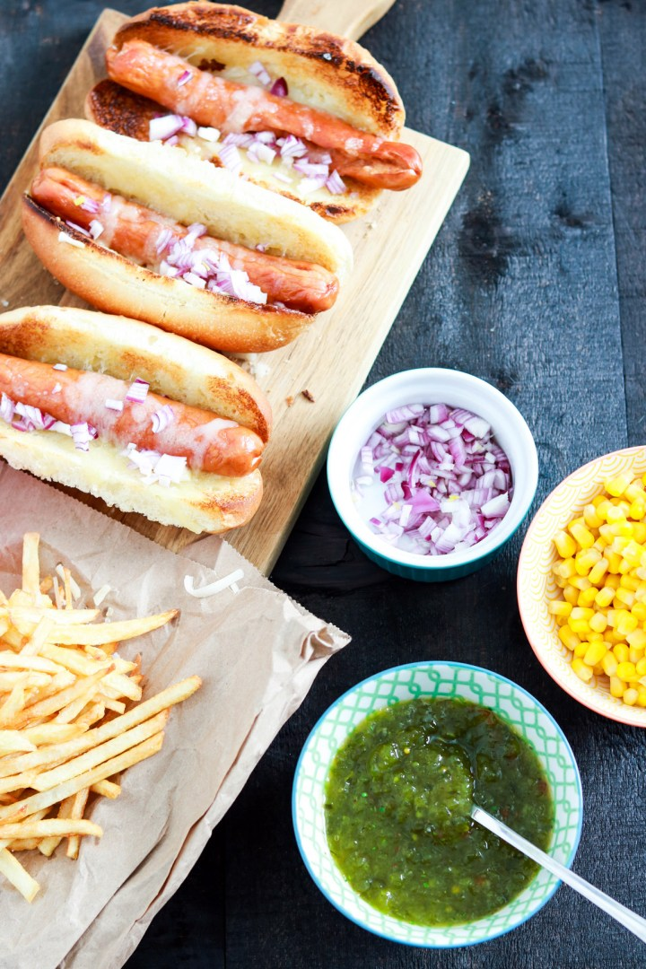 Uruguayan Pancho Hot Dog with Fries on the Side-prep-hot-dogs-condiments-on-the-side