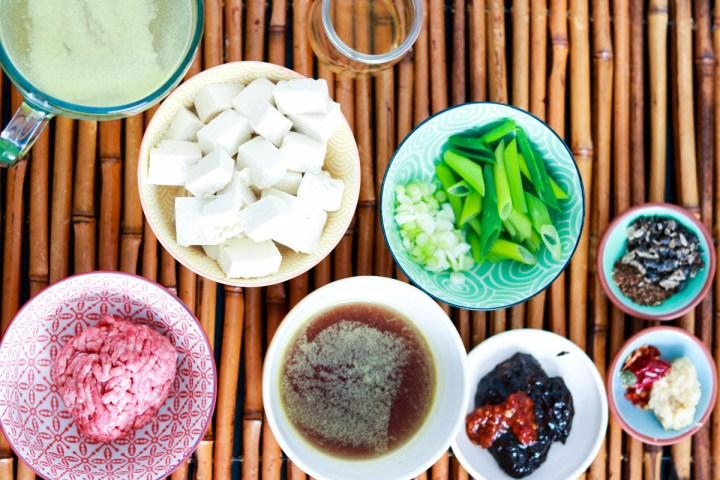 ingredients on bamboo mat