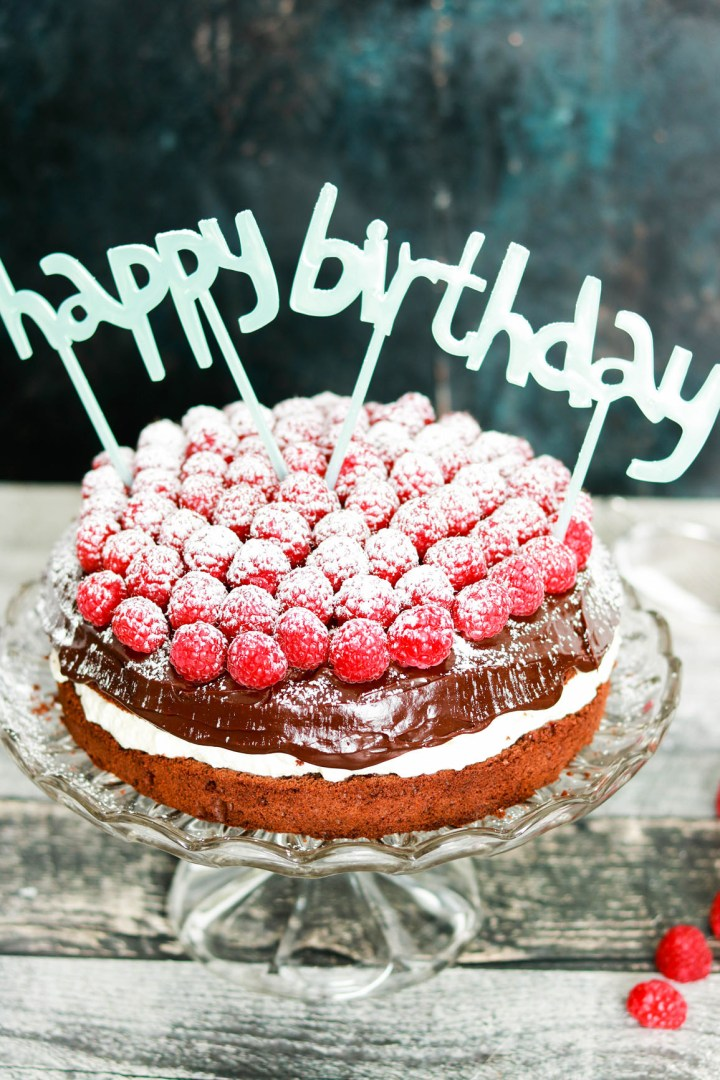 Double Chocolate Italian Cream Birthday Cake-icing sugar and cake topper
