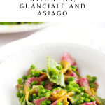 Creamy Farfalle with Peas, Guanciale and Asiago