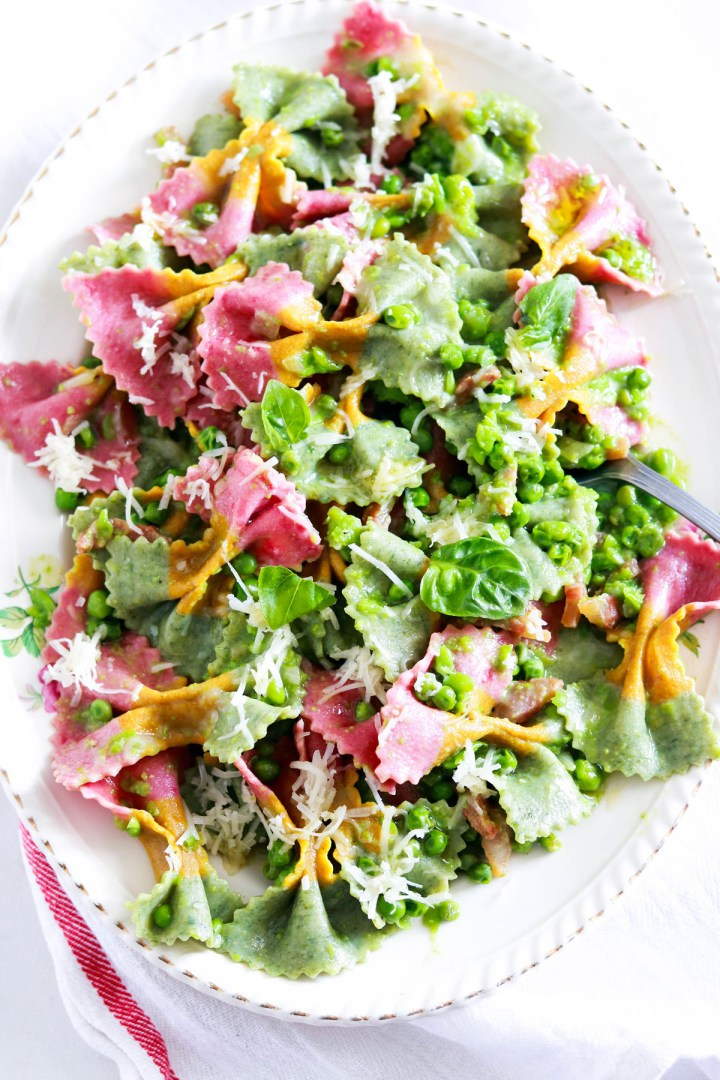 Creamy Farfalle with Peas, Guanciale and Asiago-in the platter-closeup
