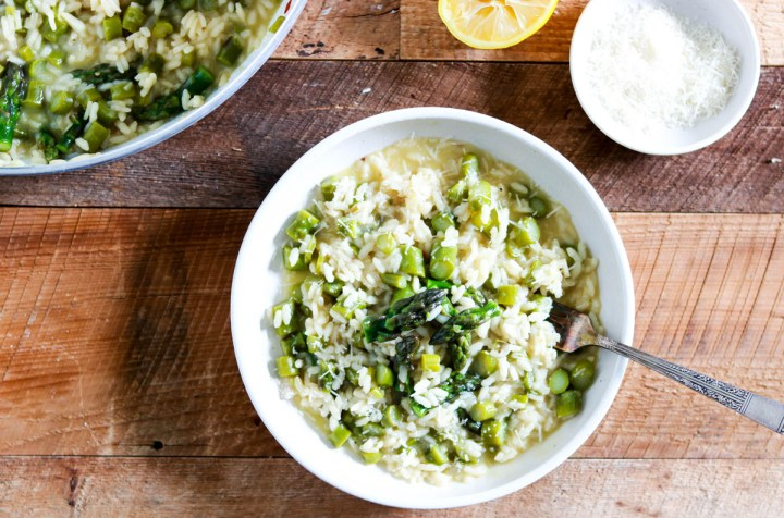 Spring Asparagus Risotto with Lemon-feature-plated with fork in