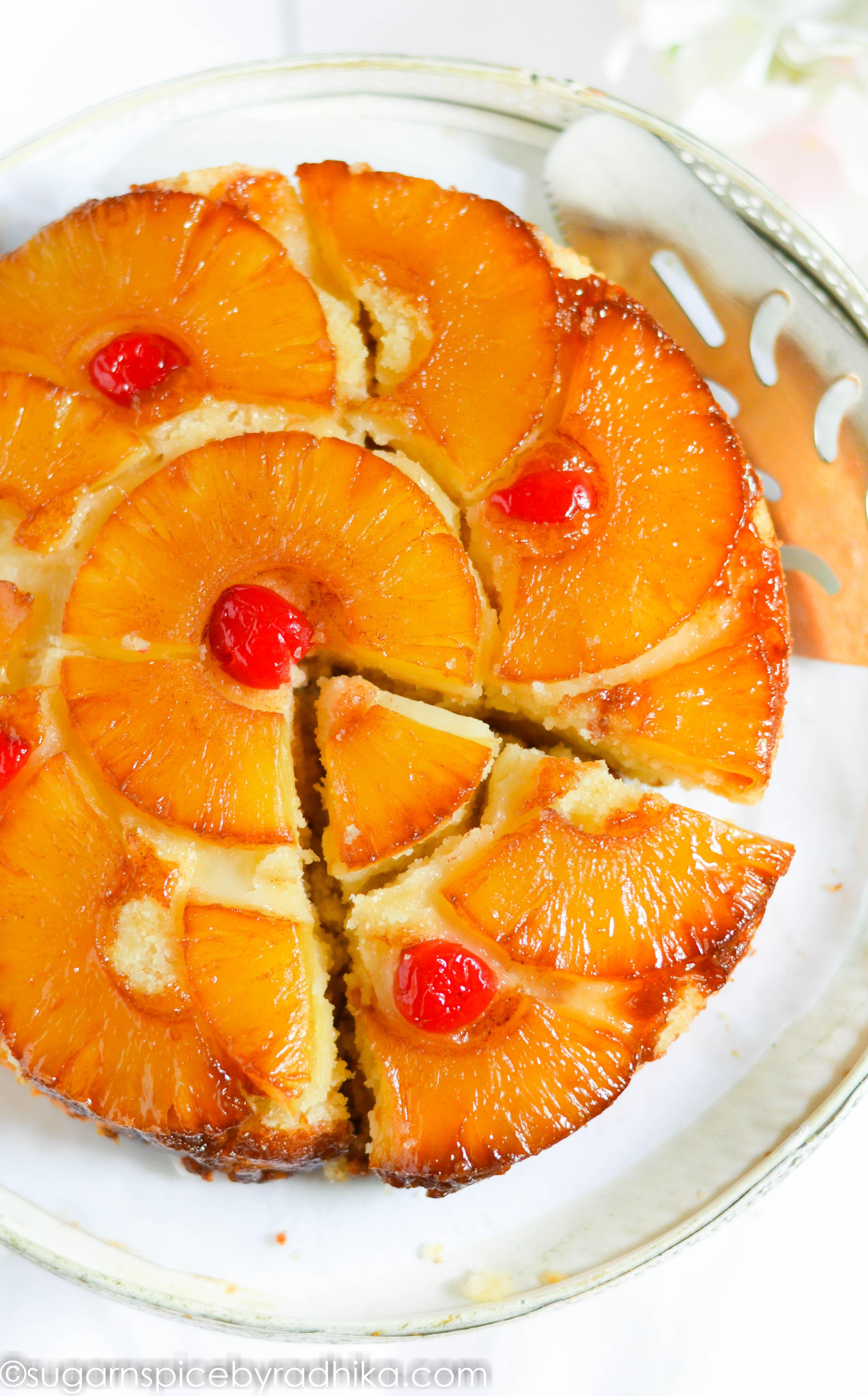 Pineapple Upside Down Cake (eggless)