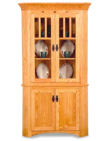 Classic Mission Corner Hutch  Amish Dining Room Furniture