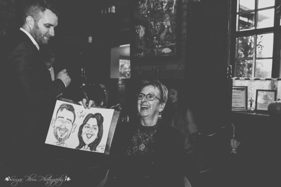 caricature artist, the hundred house, reception, wedding photographer