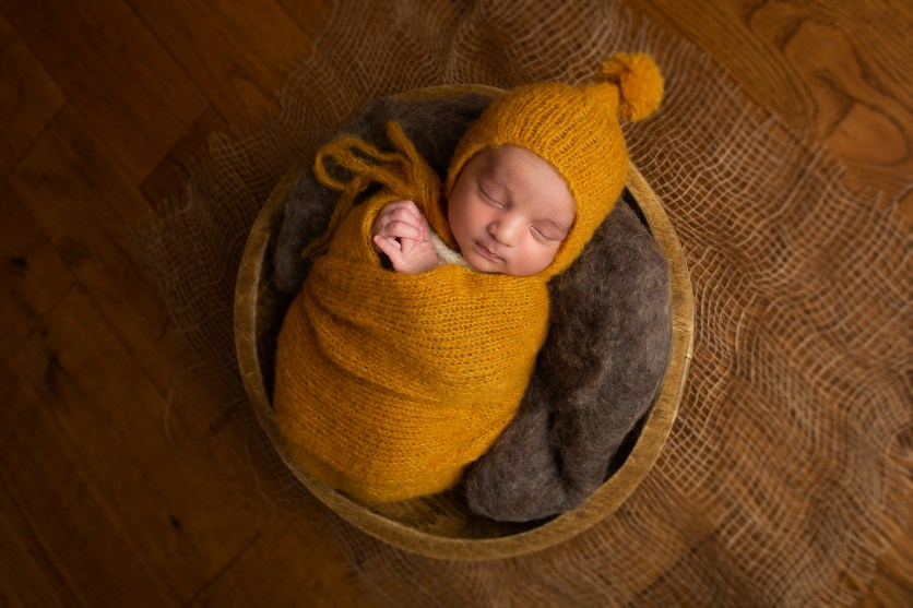 newborn baby boy pixie hat mustard wrap