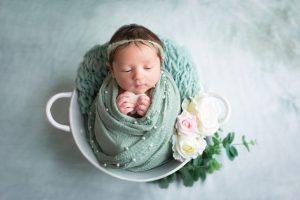 baby girl newborn photography dudley west midlands studio portrait flowers bucket wrapped