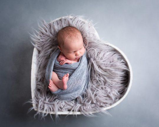baby boy newborn photography dudley west midlands studio portrait heart bowl prop grey fur