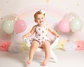 cake smash photography dudley west midlands first birthday shoot rainbow backdrop