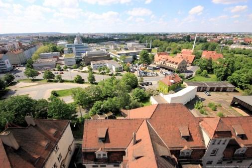 Straßenbahndepot in Nürnberg Muggenhof #22 - Blick aus dem Turm nach Westen Richtung Fürth und die Kläranlage