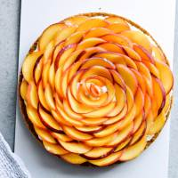 Whipped mascarpone peach tart