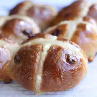 Cranberry White Chocolate Hot Cross Buns