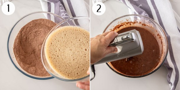 A bowl of dry ingredients and a bowl of wet ingredients being mixed together for chocolate cake