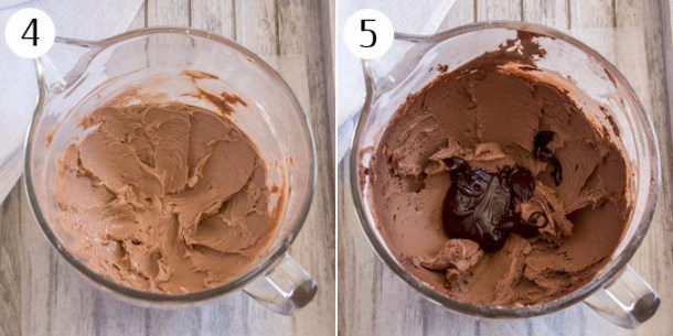Chocolate buttercream in a mixing bowl, then adding chocolate ganache