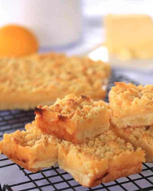 Lemon Curd Slice by  Sugar Salt Magic. A pastry base, covered in homemade lemon curd and topped with crumble