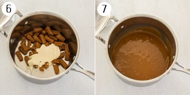 Caramel & cream combined in a saucepan, then showing the smooth caramel sauce.