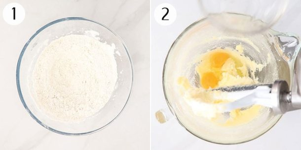 Collage of photos showing the mixing of cake batter