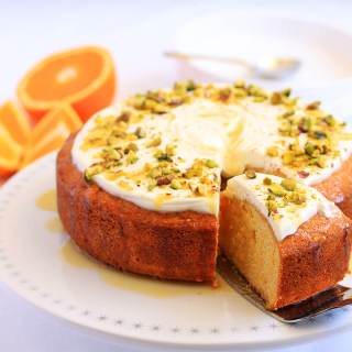 Orange Semolina Cake with Yoghurt and Pistachios