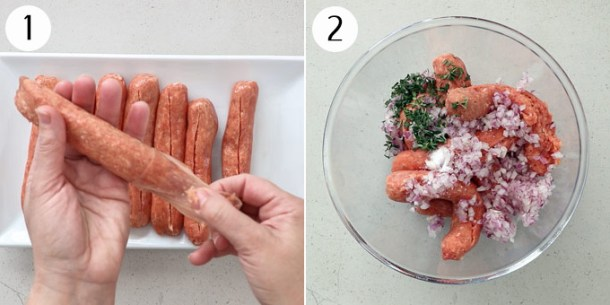 Mixing sausage meat, thyme, salt and onion in a bowl for sausage rolls