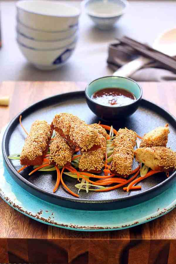 Golden Sesame Prawn Toast (Shrimp Toast) by Sugar Salt Magic