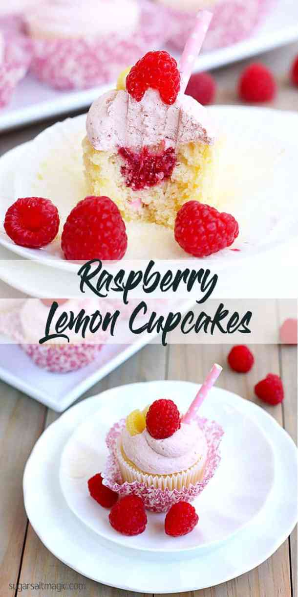 Raspberry Lemon Cupcakes by Sugar Salt Magic. Fresh and vibrant, fluffy and sweet. A perfect little cupcake treat.