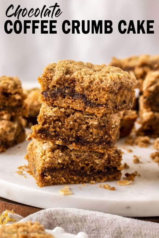 This Chocolate Coffee Crumb Cake recipe is one you'll make again and again. Perfectly fluffy coffee cake, filled with chocolate sauce and topped with an easy crumb topping. This crumb cake stays soft and delicious for days.