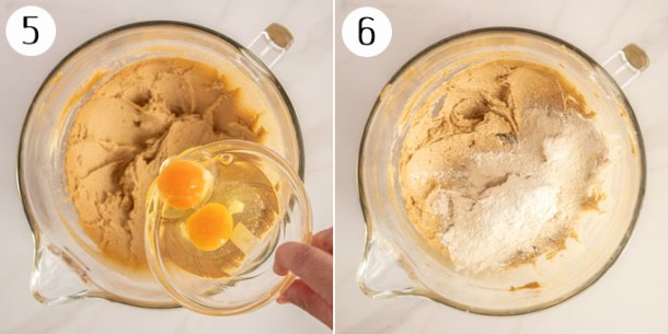 A collage showing the making of cake batter, adding eggs and flour.