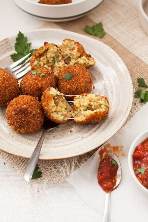 These Chorizo Arancini are little handfuls of spanish inspired risotto, that are then coated in breadcrumbs and deep fried to golden perfection.