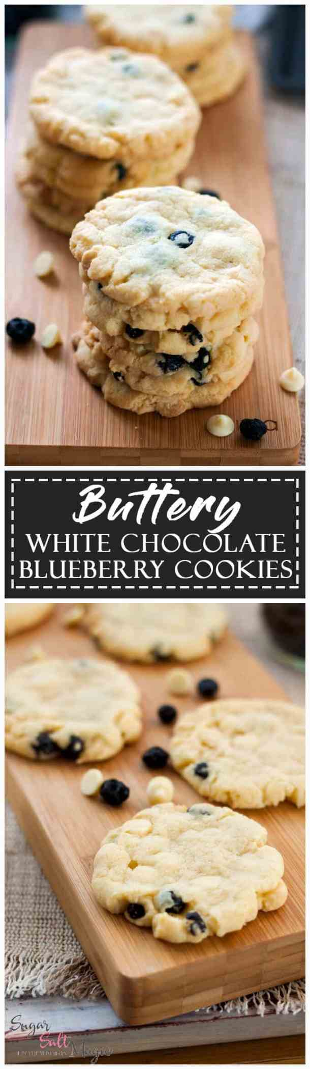 My Buttery White Chocolate Blueberry Cookies are the perfect crispy and chewy, buttery cookie filled with dried blueberries and white chocolate.
