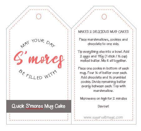 Free printable Smores Mug Cake Gift Tag
