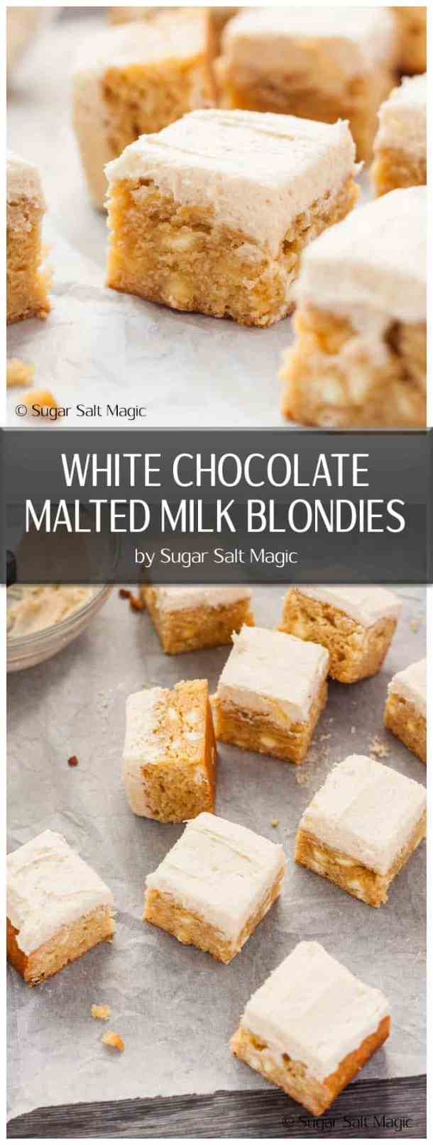 White Chocolate Malted Milk Blondies are a dense, fudgy blondie filled with white chocolate chips and topped with a supremely delicious Malted Milk Buttercream.  #chocmalt #maltedmilk