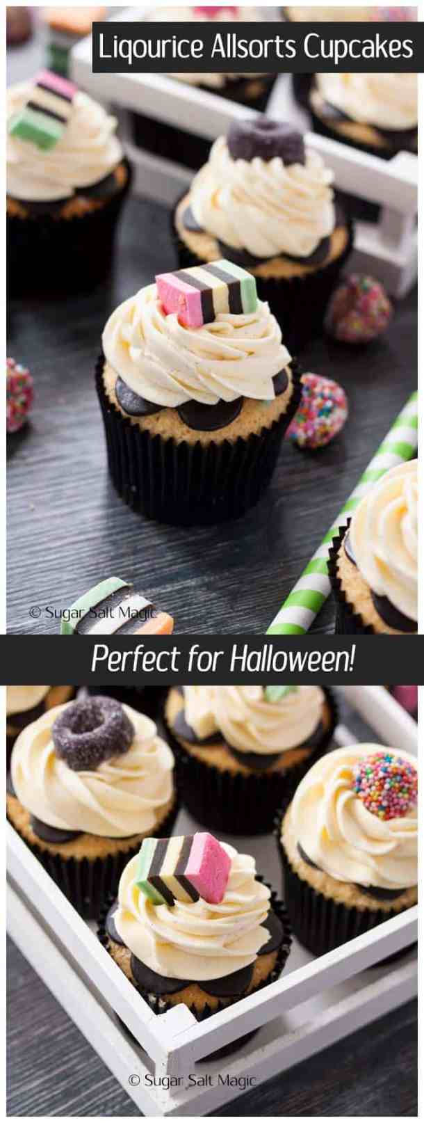 These #Liquourice #Allsorts Cupcakes are a vanilla cupcake with anise extract to give it a subtle liqourice flavour. Perfect for a #Halloween get together.