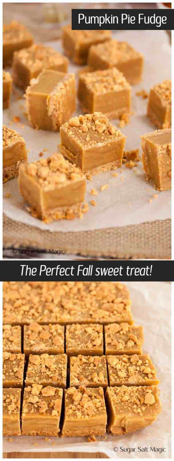 Pumpkin Pie Fudge. The cosy flavours of Autumn in a silky, smooth fudge with a crunchy no-bake biscuit base. #Autumn #fall