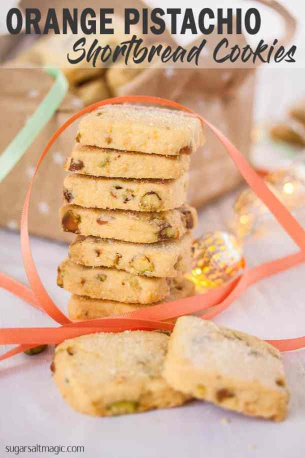 These Orange Pistachio Shortbread Cookies are super buttery and filled with crunchy pistachios and the fresh hit of orange. #sugarsaltmagic #shortbread #christmascookies #cookies #cookierecipes #pistachiocookies #orangecookies #christmascookierecipes