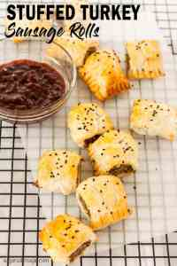 Stuffed Turkey Sausage Rolls are like Christmas dinner in a sausage roll (including the turkey). Easy sausage rolls and a great appetiser