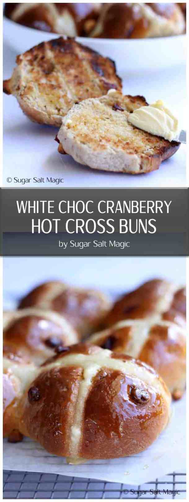 If your looking for an easy Hot Cross Buns recipe, then these easy hot cross buns with white chocolate and cranberries is perfect. #easyhotcrossbuns #hotcrossbuns