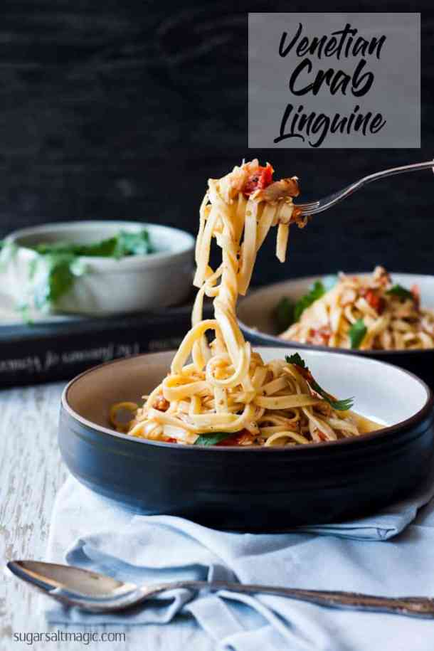 This authentic Venetian Crab Linguine, like all Italian food is simple flavours in an easy meal that tastes amazing. #italianfood #italianrecipes #crablinguine