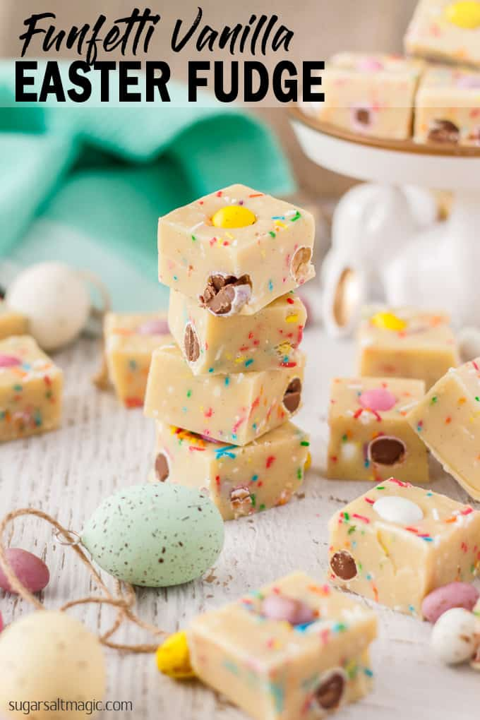 This Funfetti Vanilla Easter Fudge using my best fudge recipe is one of the most perfect sweet Easter treats to share with your family.