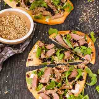 Lamb Flatbread, Homemade Dukkah and Caramelised Onion Relish