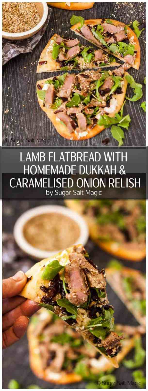 This Lamb Flatbread loaded with Caramelised Onion Relish, Homemade Dukkah, feta and rocket makes an easy & amazing lunch or dinner. #lambflatbread #onionrelish