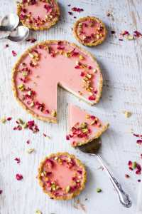 Pistachio Rose Panna Cotta Tart, with it's pistachio tart crust, rose panna cotta filling and rose jelly topping is a beautiful tart just perfect for a special occasion.