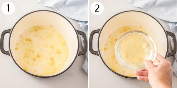 A photo showing garlic beng sauteed, then adding wine