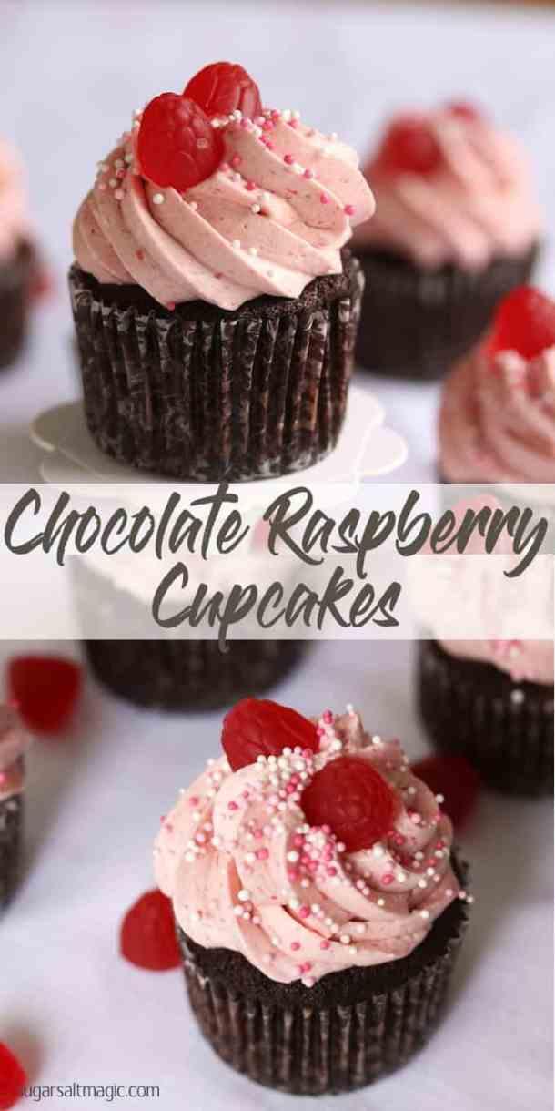 Chocolate Raspberry Cupcakes by Sugar Salt Magic. A chocolate lovers chocolate cupcake, topped with a luscious creamy, dreamy raspberry frosting.